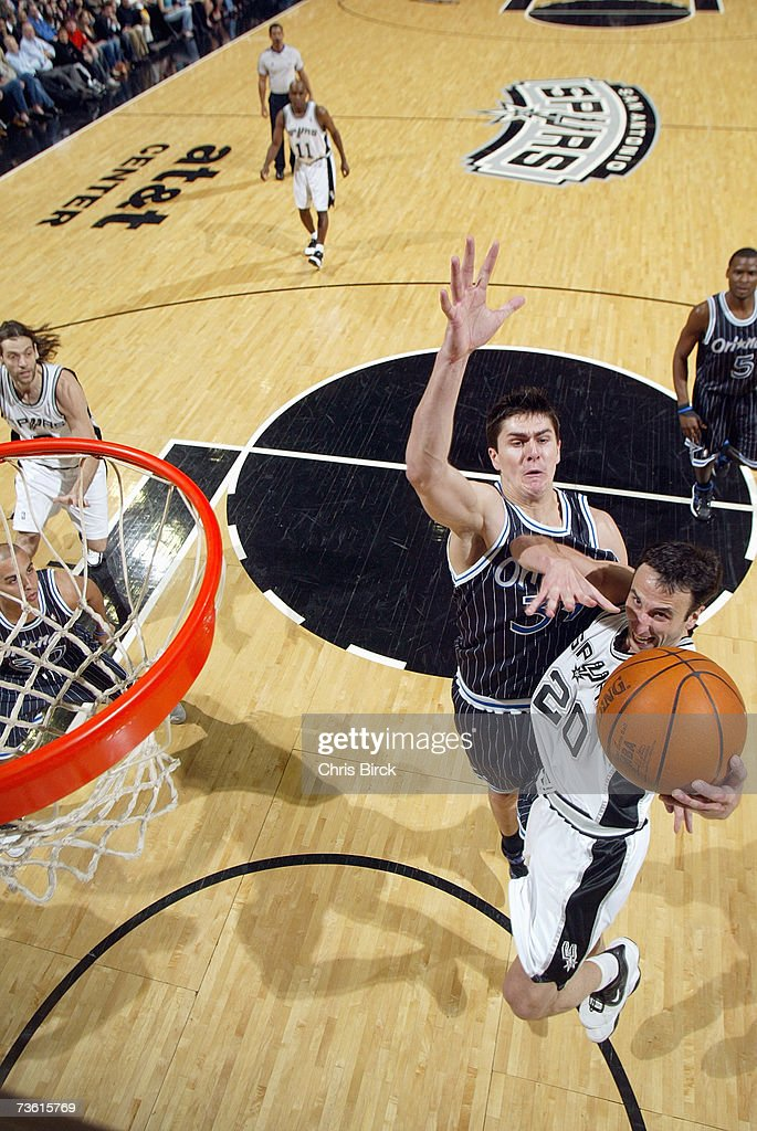 Manu Ginobili #20 of the San Antonio Spurs battles to the hoop against Darko Milicic #31 of the Orlando Magic at AT&T Center on March 2, 2007 in San Antonio, Texas. The Spurs won 98-74.