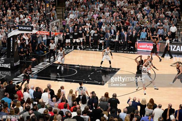 Manu Ginobili of the San Antonio Spurs blocks the shot of James Harden of the Houston Rockets in Game Five of the Western Conference Semifinals...