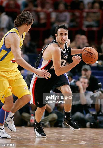 Manu Ginobili of the San Antonio Spurs brings the ball upcourt in the game against Maccabi Elite Tel Aviv during the NBA Europe Live Tour presented...
