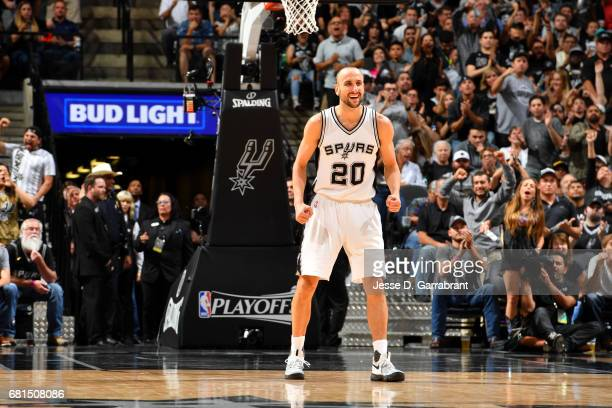 Manu Ginobili of the San Antonio Spurs celebrates during the game against the Houston Rockets during Game Five of the Western Conference Semifinals...
