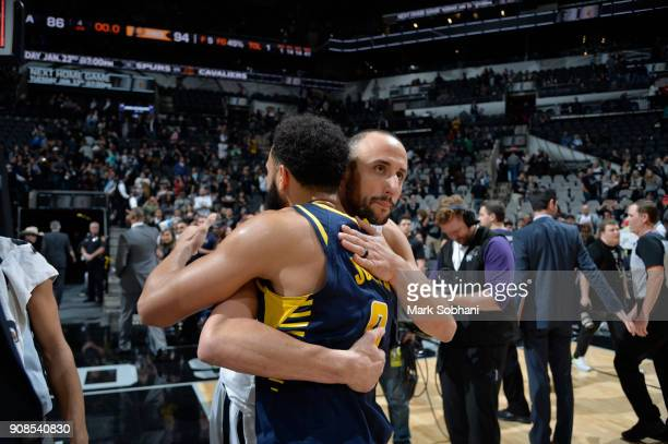 Manu Ginobili of the San Antonio Spurs congratulates Cory Joseph of the Indiana Pacers on a game well played on on January 21 2018 at the ATT Center...