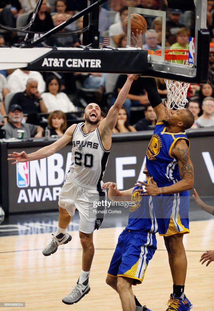 Manu Ginobili #20 of the San Antonio Spurs drives to the basket against David West #3 of the Golden State Warriors in the first half during Game Four of the 2017 NBA Western Conference Finals at AT&T Center on May 22, 2017 in San Antonio, Texas.