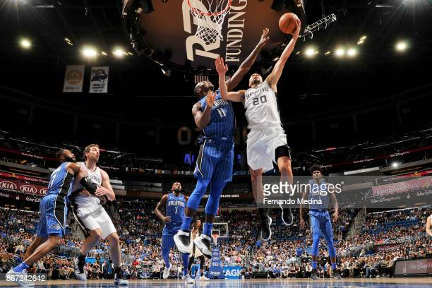 Manu Ginobili of the San Antonio Spurs drives to the basket against the Orlando Magic on October 27 2017 at Amway Center in Orlando Florida NOTE TO...
