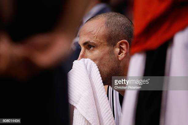 Manu Ginobili of the San Antonio Spurs during the NBA game against the Phoenix Suns at Talking Stick Resort Arena on January 21 2016 in Phoenix...