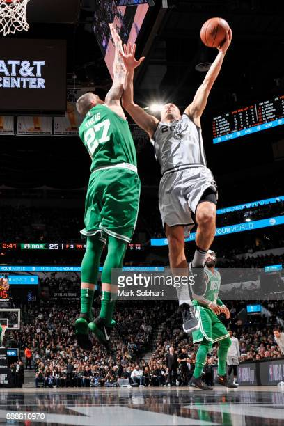 Manu Ginobili of the San Antonio Spurs goes to the basket against the Boston Celtics on December 8 2017 at the ATT Center in San Antonio Texas NOTE...