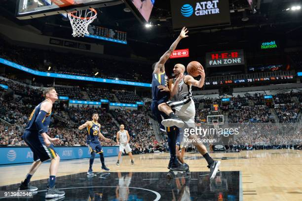 Manu Ginobili of the San Antonio Spurs goes to the basket against the Utah Jazz on February 3 2018 at the ATT Center in San Antonio Texas NOTE TO...