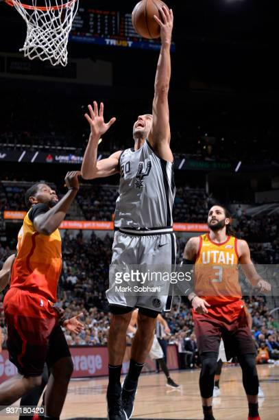 Manu Ginobili of the San Antonio Spurs goes to the basket against the Utah Jazz on March 23 2018 at the ATT Center in San Antonio Texas NOTE TO USER...