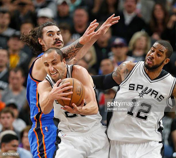 Manu Ginobili of the San Antonio Spurs grabs a rebound in front of Steven Adams of the Oklahoma City Thunder during game Two of the Western...