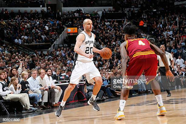 Manu Ginobili of the San Antonio Spurs handles the ball against the Cleveland Cavaliers on January 14 2016 at the ATT Center in San Antonio Texas...