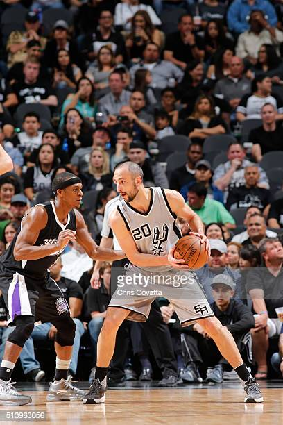 Manu Ginobili of the San Antonio Spurs handles the ball against the Sacramento Kings on March 5 2016 at the ATT Center in San Antonio Texas NOTE TO...