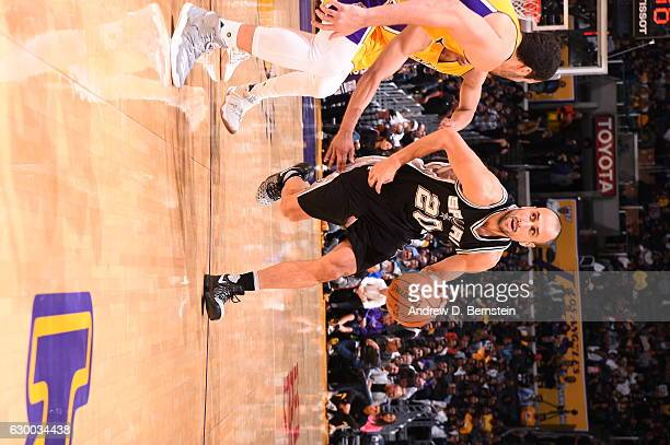 Manu Ginobili of the San Antonio Spurs handles the ball against the Los Angeles Lakers on November 18 2016 at STAPLES Center in Los Angeles...