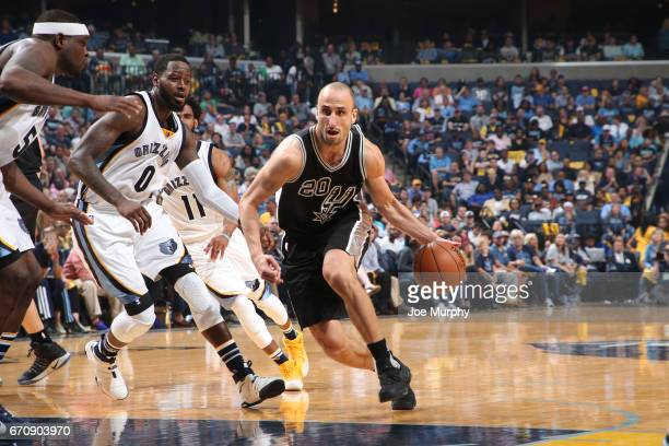 Manu Ginobili of the San Antonio Spurs handles the ball against the Memphis Grizzlies during Game Three of the Western Conference Quarterfinals of...
