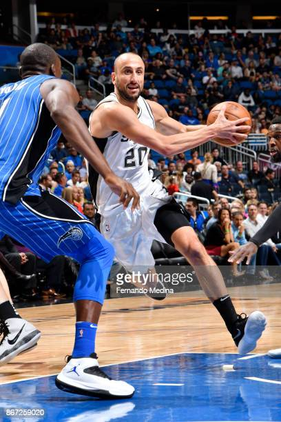 Manu Ginobili of the San Antonio Spurs handles the ball against the Orlando Magic on October 27 2017 at Amway Center in Orlando Florida NOTE TO USER...