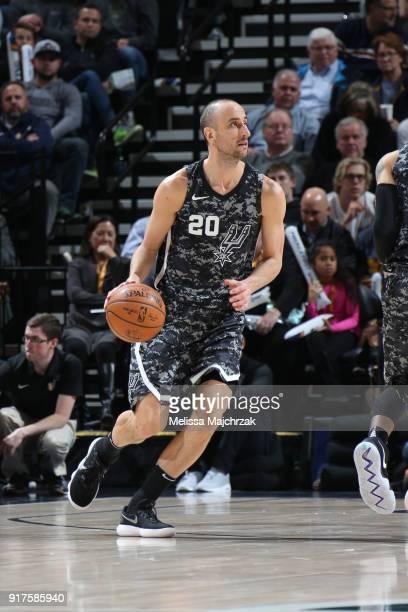 Manu Ginobili of the San Antonio Spurs handles the ball against the Utah Jazz on February 12 2018 at vivintSmartHome Arena in Salt Lake City Utah...