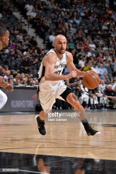 Manu Ginobili of the San Antonio Spurs handles the ball against the New Orleans Pelicans on February 28 2018 at the ATT Center in San Antonio Texas...