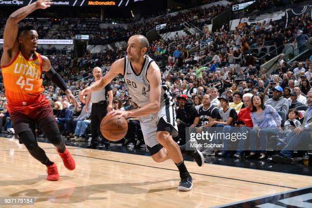 Manu Ginobili of the San Antonio Spurs handles the ball against the Utah Jazz on March 23 2018 at the ATT Center in San Antonio Texas NOTE TO USER...