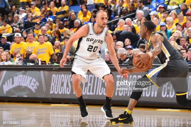 Manu Ginobili of the San Antonio Spurs handles the ball against the Golden State Warriors in Game Two of Round One of the 2018 NBA Playoffs on April...