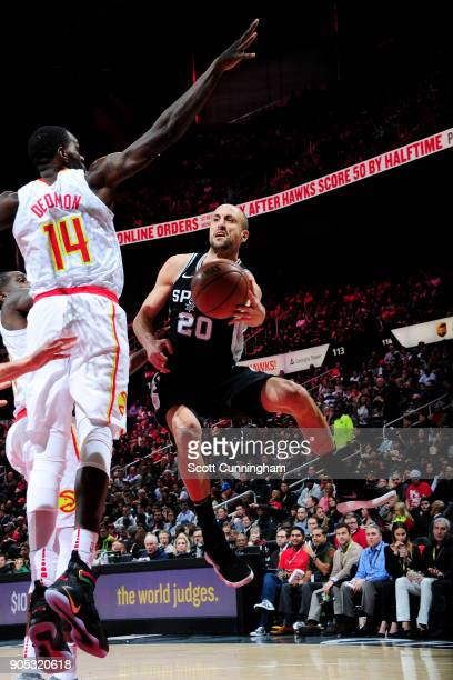 Manu Ginobili of the San Antonio Spurs handles the ball during the game against the Atlanta Hawks on January 15 2018 at Philips Arena in Atlanta...