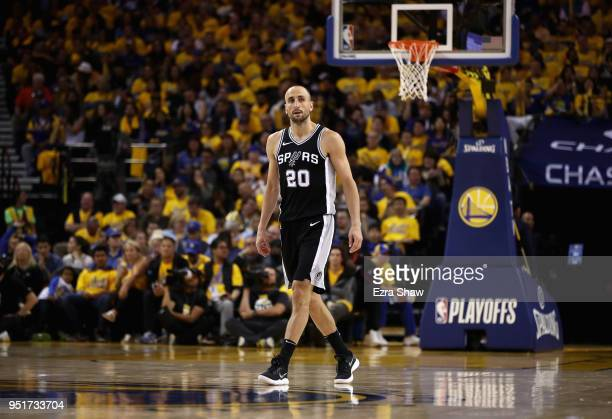 Manu Ginobili of the San Antonio Spurs in action against the Golden State Warriors during Game Five of Round One of the 2018 NBA Playoffs at ORACLE...