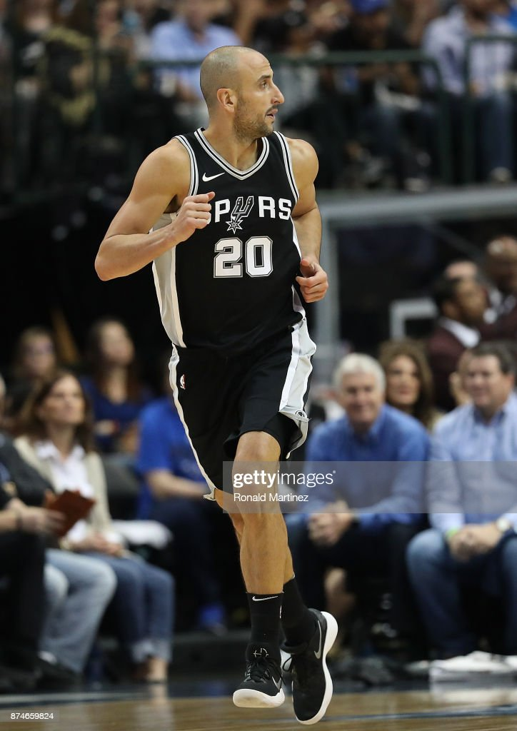 Manu Ginobili #20 of the San Antonio Spurs in the second half at American Airlines Center on November 14, 2017 in Dallas, Texas.