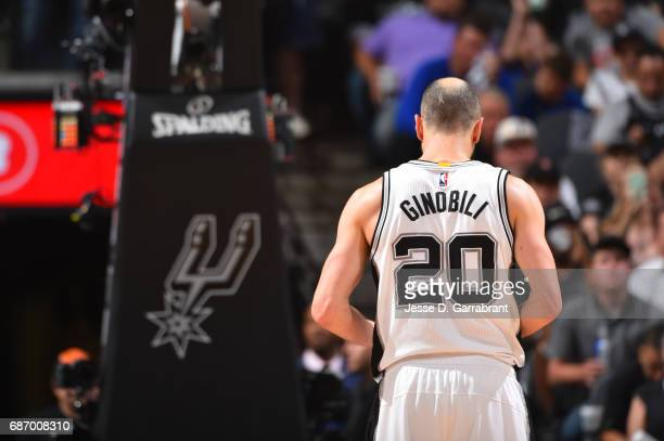 Manu Ginobili of the San Antonio Spurs is seen during Game Four of the Western Conference Finals of the 2017 NBA Playoffs on May 22 2017 at the ATT...