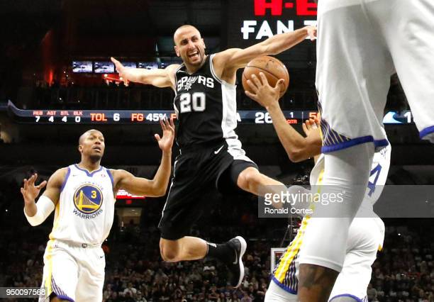 Manu Ginobili of the San Antonio Spurs is stripped of the ball by Golden State Warriors in the first half of Game Four of Round One of the 2018 NBA...