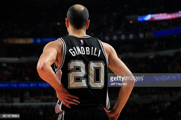 Manu Ginobili of the San Antonio Spurs looks on during the game against the Chicago Bulls on November 30 2015 at United Center in Chicago Illinois...