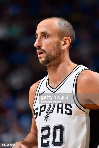 Manu Ginobili of the San Antonio Spurs looks on during the game against the Orlando Magic on October 27 2017 at Amway Center in Orlando Florida NOTE...