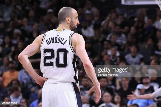 Manu Ginobili of the San Antonio Spurs looks on in the first half against the Golden State Warriors during Game Four of the 2017 NBA Western...