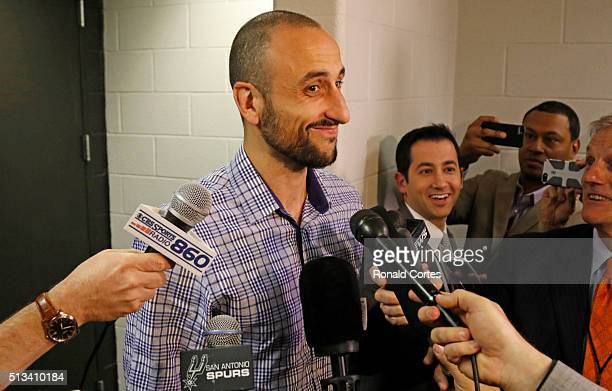 Manu Ginobili of the San Antonio Spurs meets the media before the game against the Detroit Pistons to give an injury update at ATT Center on March 2...