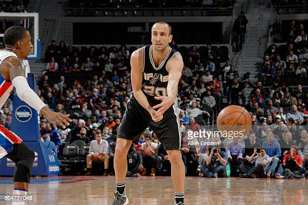 Manu Ginobili of the San Antonio Spurs passes the ball against the Detroit Pistons on January 12 2016 at The Palace of Auburn Hills in Auburn Hills...