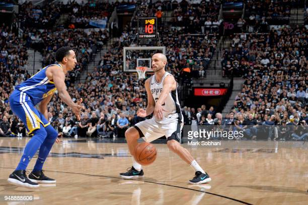 Manu Ginobili of the San Antonio Spurs passes the ball against the Golden State Warriors during Game Three of the Western Conference Quarterfinals in...