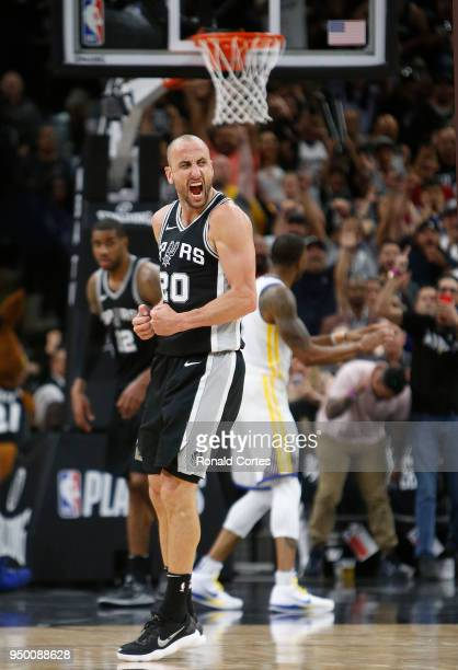 Manu Ginobili of the San Antonio Spurs reacts after hitting a three point shot late in fourth quarter against the Golden State Warriors in Game Four...