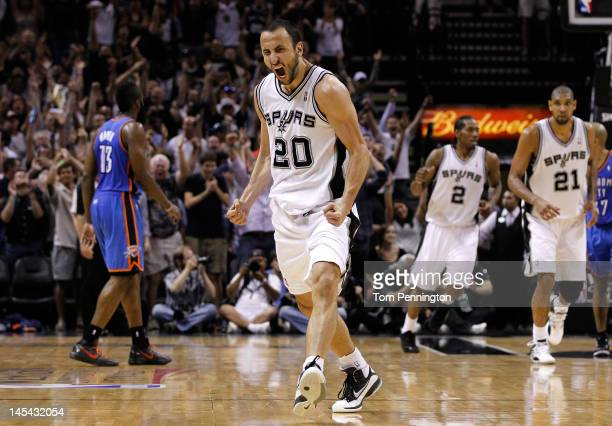 Manu Ginobili of the San Antonio Spurs reacts after making a threepointer in the fourth quarter against the Oklahoma City Thunder in Game Two of the...
