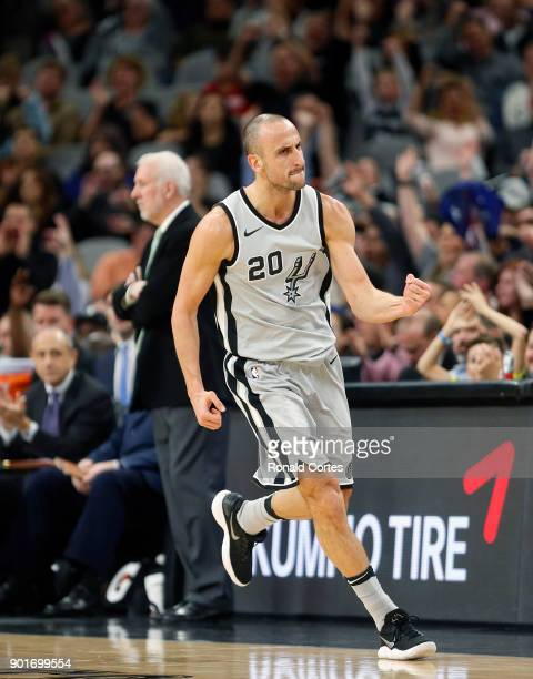 Manu Ginobili of the San Antonio Spurs reacts after scoring against the Phoenix Suns at ATT Center on January 05 2018 in San Antonio Texas NOTE TO...
