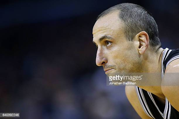 Manu Ginobili of the San Antonio Spurs reacts during the first half of a game against the New Orleans Pelicans at the Smoothie King Center on January...