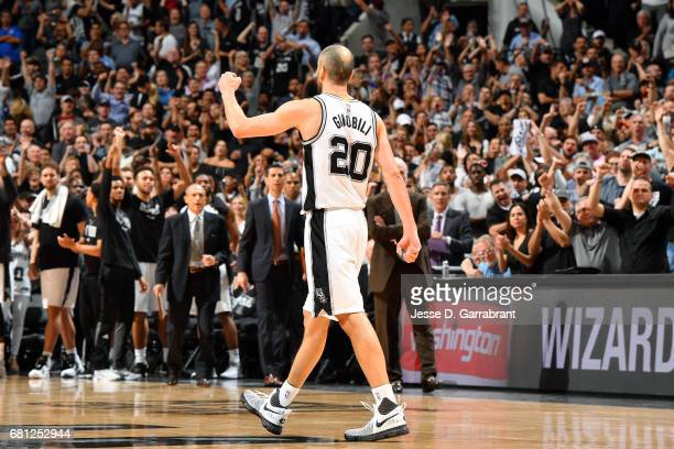 Manu Ginobili of the San Antonio Spurs reacts during the game against the Houston Rockets during Game Five of the Western Conference Semifinals of...