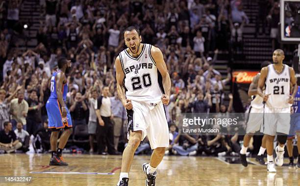 Manu Ginobili of the San Antonio Spurs reacts in Game Two of the Western Conference Finals between the Oklahoma City Thunder and the San Antonio...