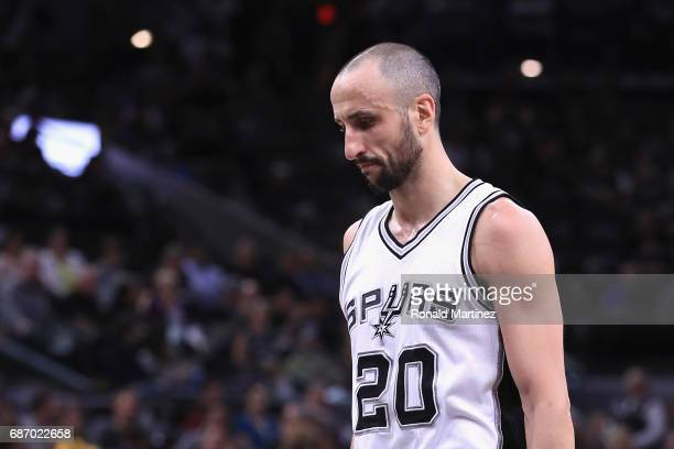 Manu Ginobili of the San Antonio Spurs reacts in the first half against the Golden State Warriors during Game Four of the 2017 NBA Western Conference...
