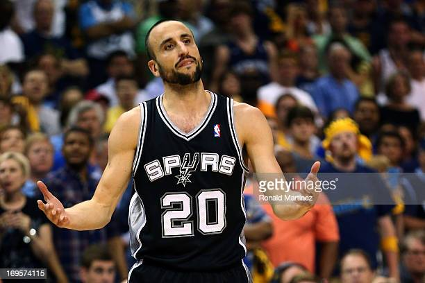 Manu Ginobili of the San Antonio Spurs reacts in the fourth quarter while taking on the Memphis Grizzlies during Game Four of the Western Conference...