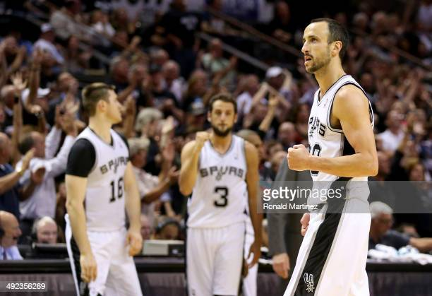 Manu Ginobili of the San Antonio Spurs reacts in the fourth quarter while taking on the Oklahoma City Thunder in Game One of the Western Conference...