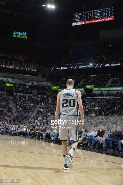 Manu Ginobili of the San Antonio Spurs seen on the court against the Denver Nuggets on January 13 2018 at the ATT Center in San Antonio Texas NOTE TO...