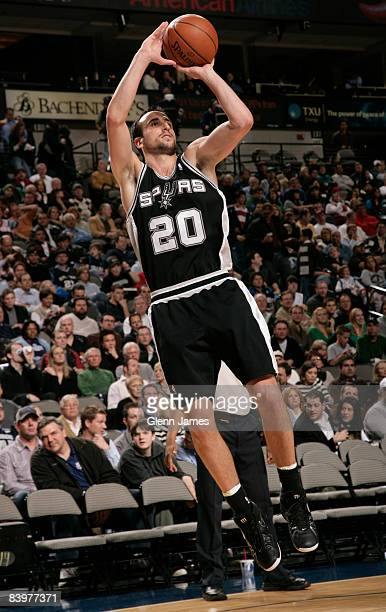 Manu Ginobili of the San Antonio Spurs shoots a jumper against the Dallas Mavericks on December 9 2008 at the American Airlines Center in Dallas...