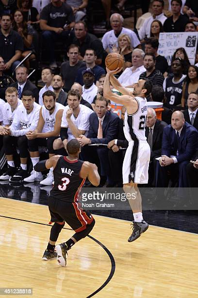 Manu Ginobili of the San Antonio Spurs shoots the ball against the Miami Heat during Game Five of the 2014 NBA Finals between the Miami Heat and San...