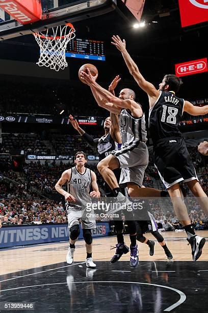 Manu Ginobili of the San Antonio Spurs shoots the ball against the Sacramento Kings on March 5 2016 at the ATT Center in San Antonio Texas NOTE TO...