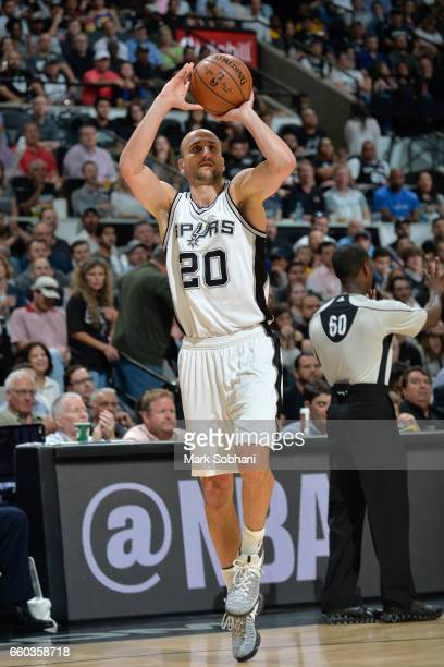 Manu Ginobili of the San Antonio Spurs shoots the ball against the Golden State Warriors on March 29 2017 at the ATT Center in San Antonio Texas NOTE...
