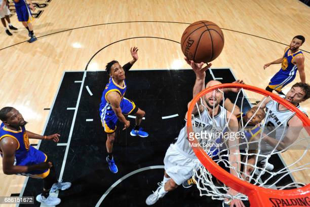Manu Ginobili of the San Antonio Spurs shoots the ball against the Golden State Warriors in Game Three of the Western Conference Finals of the 2017...