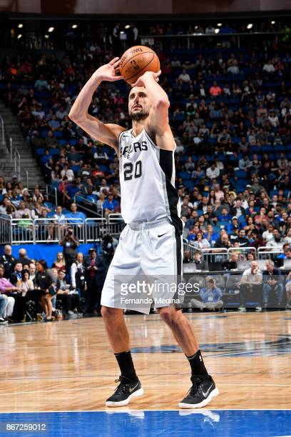 Manu Ginobili of the San Antonio Spurs shoots the ball against the Orlando Magic on October 27 2017 at Amway Center in Orlando Florida NOTE TO USER...