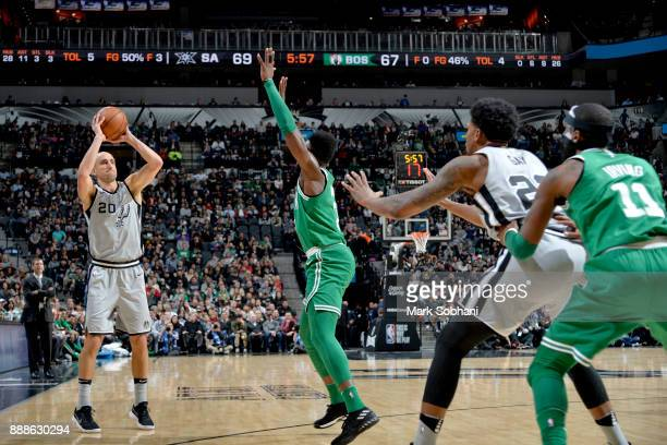 Manu Ginobili of the San Antonio Spurs shoots the ball against the Boston Celtics on December 8 2017 at the ATT Center in San Antonio Texas NOTE TO...