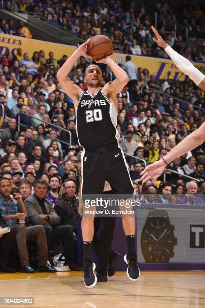 Manu Ginobili of the San Antonio Spurs shoots the ball against the Los Angeles Lakers on January 11 2018 at STAPLES Center in Los Angeles California...